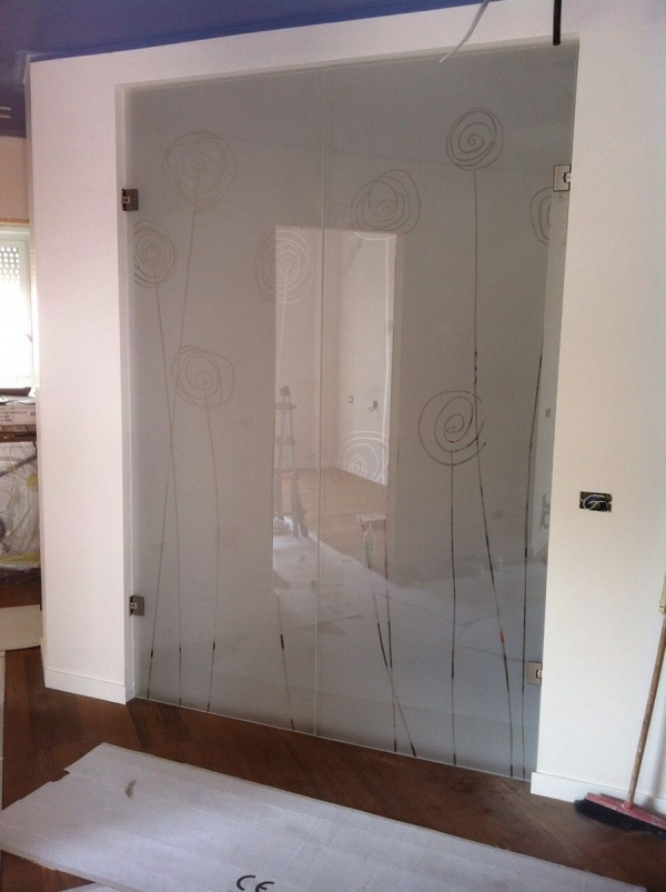 sandblasted glass sliding door white flower design